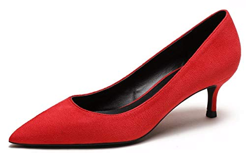 (CAMSSOO Womens Low Heel D'Orsay Slip On Pointed Toe Dress Pumps Shoes Red Velvet Size US9 EU42)