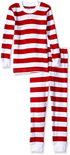 Johns Organic Long - Sara's Prints Big Boys' Organic All Cotton Long John Pajamas, Red/White Stripe, 10