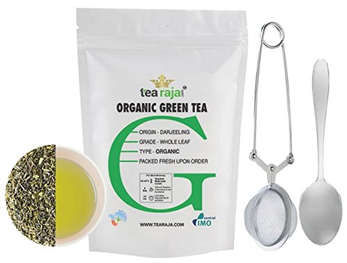 Tearaja Organic Green Tea(FREE TEA INFUSER & TEASPOON)|India Organic|Second Flush 2016|Whole Leaf|Fine & Fresh (100Gm)