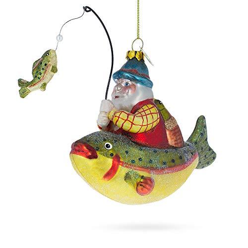BestPysanky Santa Fishing on Boat Blown Glass Christmas Ornament