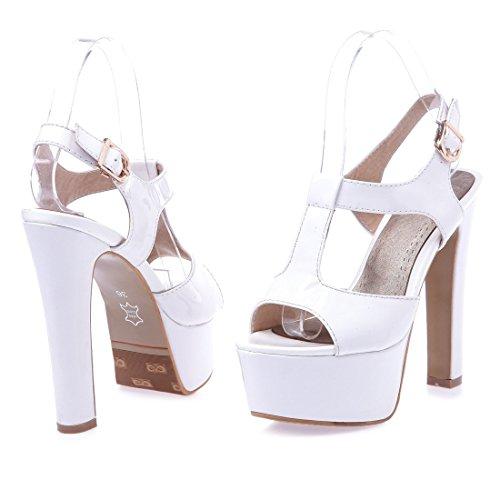 Damen Abastz Plattform Knöchel Wölbungs Pumps Schuhe Sandalen Schuhe Weiß