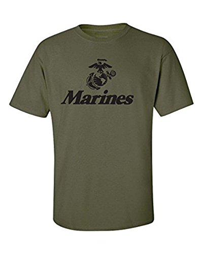 Men's Marine Corps Anchor Eagle Military TEE Shirt, Military Green, XL