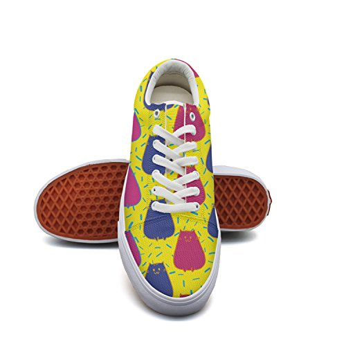 PDAQS Kittens Cute Cats Women Canvas Shoes Oldskoo Skateboard Shoes Low Top