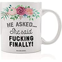 FUCKING FINALLY Funny Mug Gift Idea for Engaged Couple Engagement Hen Do Bachelorette Parties Bridal Wedding Shower Congratulations Floral Bloom Sassy He Asked 11oz Ceramic Tea Cup Digibuddha DM0391