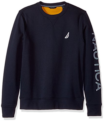 Nautica Men's Long Sleeve Solid French Rib Crew Neck Sweatshirt, Navy, 3X-Large