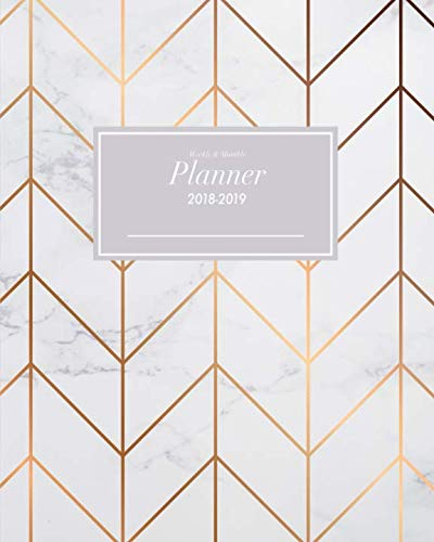 lanner 2018-2019: October 2018 through December 2019 Calendar Schedule Organizer and Journal Notebook Rose-Gold Chevron Pattern & Marble Cover (Inspirational Quotes) ()