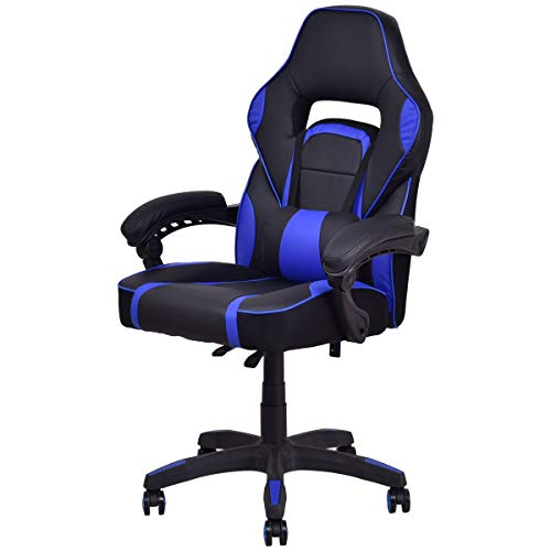Executive Racing Style PU Leather Gaming Chair High Back Recliner Office Blue Apontus