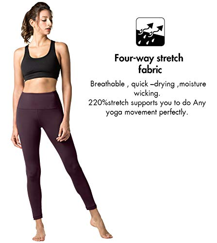 Poches Pilates Taille Avec Double 16 Pantalon Sport Fitness Haute Gaine Épaisseur Yoga Femme De L01 Gym Legging Large ceinture Bordeaux Lapasa nWpFPYF