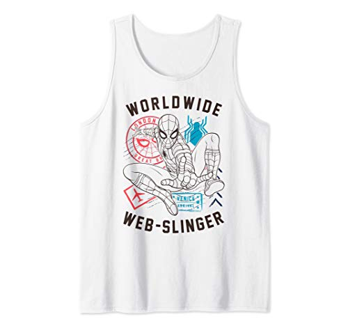 (Marvel Spider-Man Far From Home Worldwide Web-Slinger Poster Tank Top )