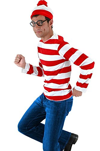 Where's Waldo Costume Men (JerriyCostumes Adult Where's Waldo Costume Funny Sweatshirt Outfit Glasses Suits)