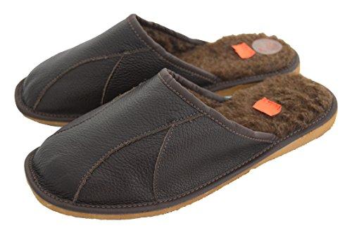 Leder Innenfutter Hausschuhe wool Schafwolle brown Pantoletten Brown natürlichem Herren und Hnw5xFAvnq