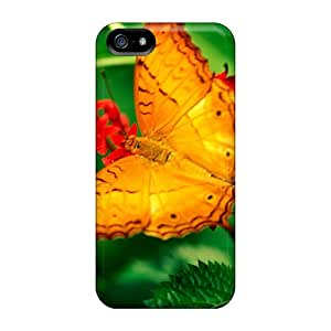 Hard Plastic Iphone 5/5s Case Back Cover,hot Butterfly On Leaves Case At Perfect Diy