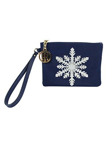 Tommy Hilfiger Women's Snowflake Nylon Wristlet Navy Blue
