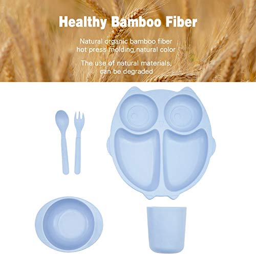 5pcs Bamboo Kids Dinnerware Set for Baby Feeding,Non Toxic & Safe Toddler Dinnerware Set,Eco-Friendly Tableware for Baby Toddler Kids Bamboo Toddler Dishes & Dinnerware Sets (Blue)