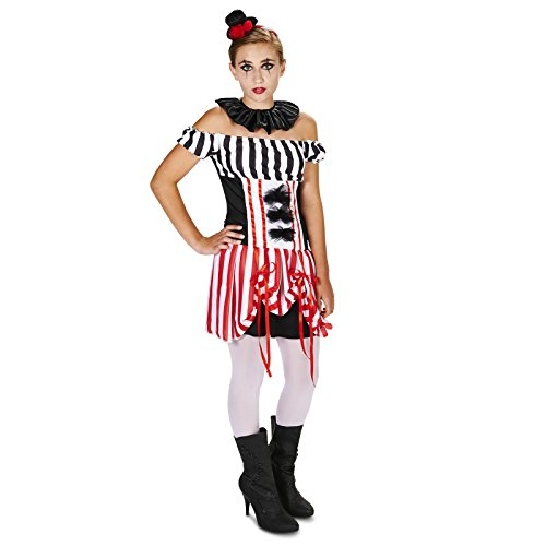 Carn-Evil Vintage Striped Carnival Clown Dress Tween Dress Up Costume 5-9]()