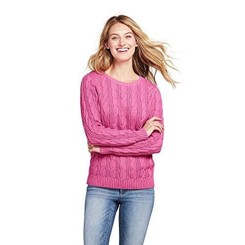 (Lands' End Women's Petite Drifter Cotton Cable Knit Sweater Crewneck, L, Berry Pink Heather)