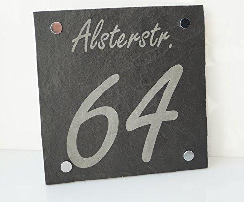 Schiefer Designer Hausnummer & Straßennamen mit Gravur / Namensgravur (kein Druck / 100 witterungsbeständig!!) 20 x 20 cm 1 Familienhaus - ideal als Geschenk zum Geburtstag o. zur Hochzeit