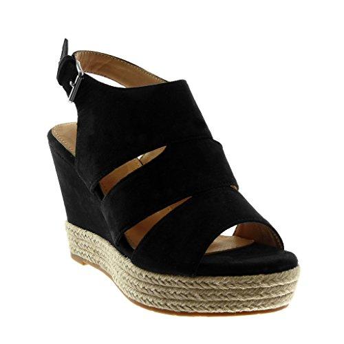 Angkorly Damen Schuhe Sandalen Mule - Plateauschuhe - Peep-Toe - Open-Back - Seil - Geflochten Keilabsatz High Heel 10.5 cm Schwarz