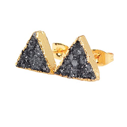JAB 1 Pair Gold Plated Triangle Natural Agate Druzy Stud Earrings G0432-5 ()