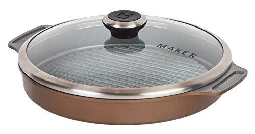 MAKER Homeware Round Steam Grill (Aluminum Round Grill Pan)