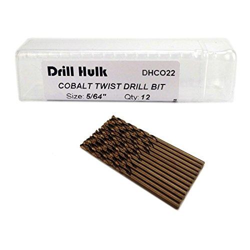 Pack of 12, 5/64-Inch Cobalt Steel M35 Drill Bit, Jobber Length, for Hard Metal, Stainless - Length Drill Jobber 64