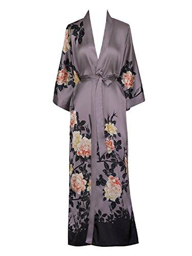 Old Shanghai Women's Kimono Robe Long - Watercolor Floral, Blush Rose-Dusk