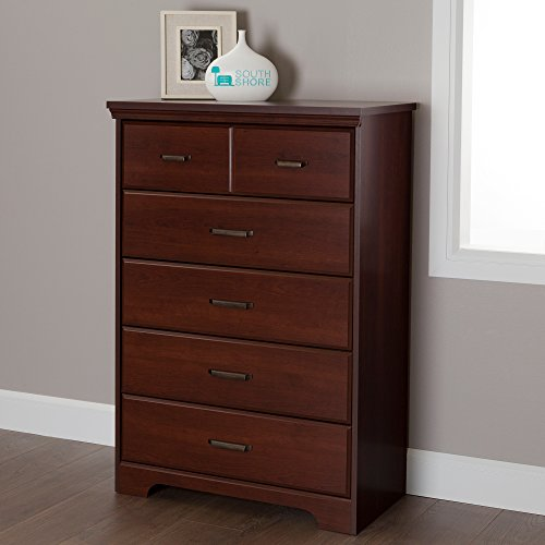 (South Shore Versa Collection 5-Drawer Dresser, Royal Cherry with Antique Handles)