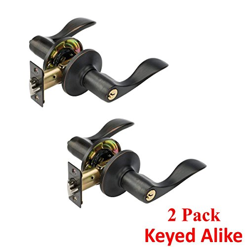 Lever Set Oil Rubbed Bronze - Dynasty Hardware HER-00-12P, Heritage Front Door Entry Lever Lockset, Aged Oil Rubbed Bronze - (2 Pack) - Keyed Alike