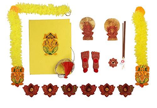 storeindya Diwali Diya Decorations Gifts Set of 6 Earthen Diyas Door Hanging Toran Lakshmi Ganesha Idols Incense Sticks & Holder Storage Box Organizer Complete Combo Home Décor Festive Celebration (Best Gift For Engagement To Girl In India)
