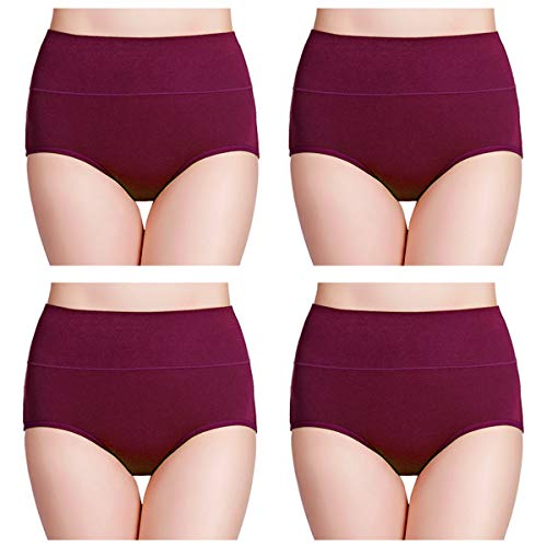 wirarpa Women's Cotton Underwear High Waisted Full Coverage Brief Panties Ladies Comfortable Underpants 4 Pack Deep Red, Size ()