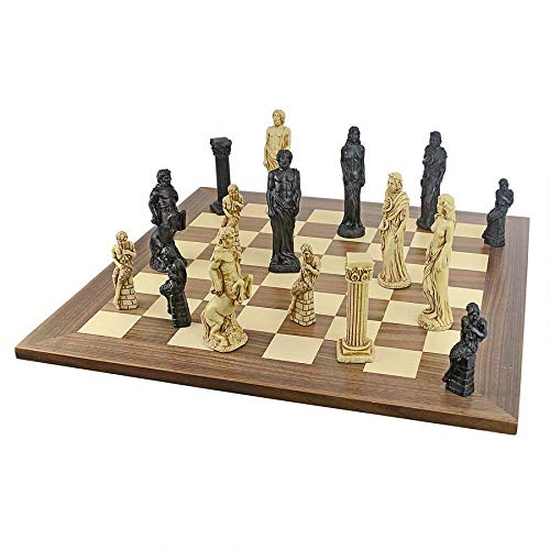 Design Toscano Gods of Greek Mythology Complete Chess Set, 6 Inch, 16 Pieces and Board, Two Tone Stone (Historical Chess Set)