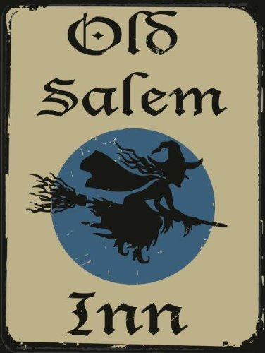 Old Salem Inn Metal Sign, Vintage Halloween Witch on Broomstick