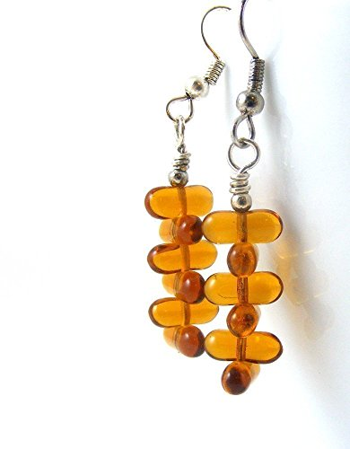 Amber Glass Dangle Earrings Stacked Tablets Topaz Honey Brown - Creative One Of A Kind Costumes