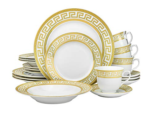 Euro Porcelain 20-pc Dinnerware Set w/ Gold Greek Key Pattern 24K Ornament, HQ Dining Service for 4