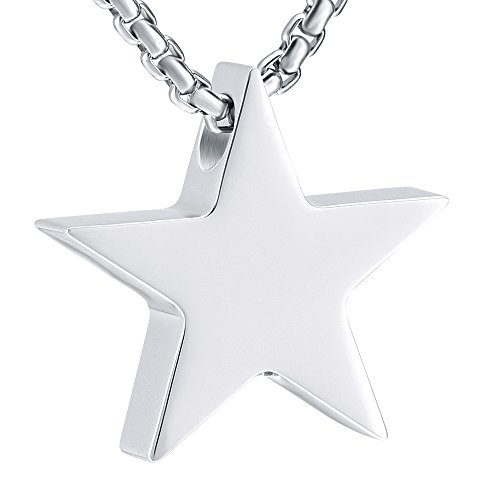 EternityMemory 316L Stainless Steel Star Cremation Jewelry Ashes Urn Necklace -Including Box,Chain and Fill Kits ()
