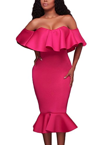 Astylish Shoulder Flouncing Mermaid Bodycon