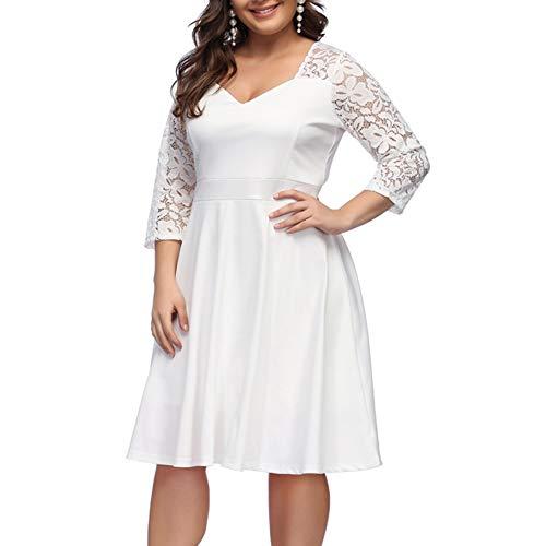 ORICSSON Women's Plus Size Retro Floral Lace Halter Ruched Off-Shoulder Wedding Hi-Low Cocktail Party Evening Dress (White-3/4 Sleeve, 4X-Large) (Plus Size Wedding)