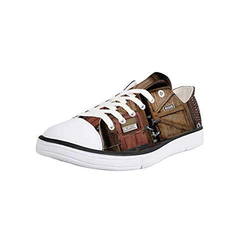Canvas Sneaker Low Top Shoes,Zombie Decor,Monsters Behind Wooden Door Demon Halloween Fear Fantasy Picture Decorative Man 12]()