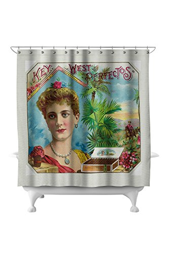 Key West Perfectos Brand Cigar Outer Box Label (71x74 Polyester Shower Curtain)
