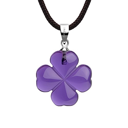 Agate Leaf Pendant Bead - iSTONE Jewelry Amethyst Four Leaf Clover Pendant Necklace for Faith Hope Love and Luck 334301720