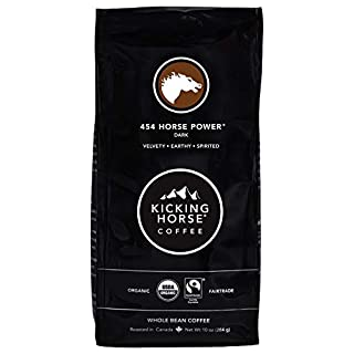 Kicking Horse Coffee, 454 Horse Power, Dark Roast, Whole Bean, 10 oz - Certified Organic, Fairtrade, Kosher Coffee