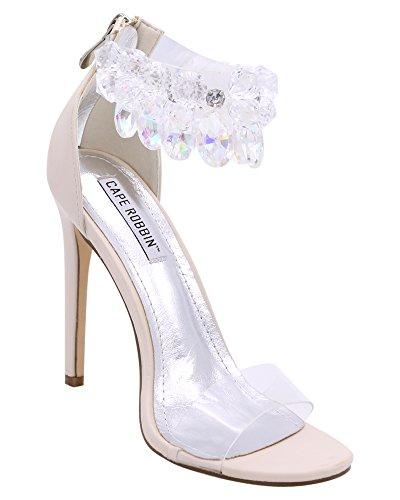 Clear Crystal Strap - CAPE ROBBIN Suzzy-54 Rhinestone Crystal Chandelier Ankle Strap Satin Stiletto Heel Sandal Nude