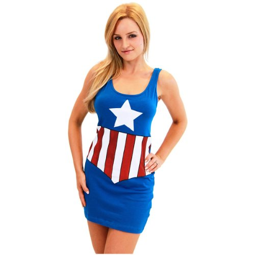 Captain Marvel Female Costume - Marvel Comic Tank Dress Adult Costume Captain America - Small