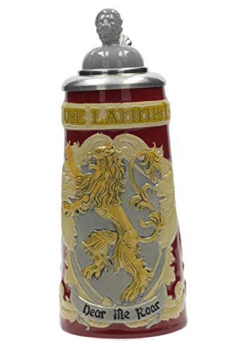 Game of Thrones House Lannister Beer Stein | Collectible Authentic Ceramic Drinking Mug | 22 Ounces