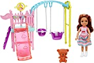 ​Barbie Club Chelsea Doll and Swing Set Playset with 2 Swings and Slide, Plus Teddy Bear Figure, Gift for 3 to