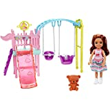 ​Barbie Club Chelsea Doll and Swing Set Playset with 2 Swings and Slide, Plus Teddy Bear Figure, Gift for 3 to 7 Year Olds