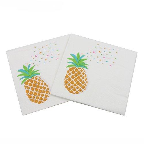 WallyE Pineapple Napkins Summer Luau Party Supplies, Hawaiian Luncheon Napkins,20 Pack