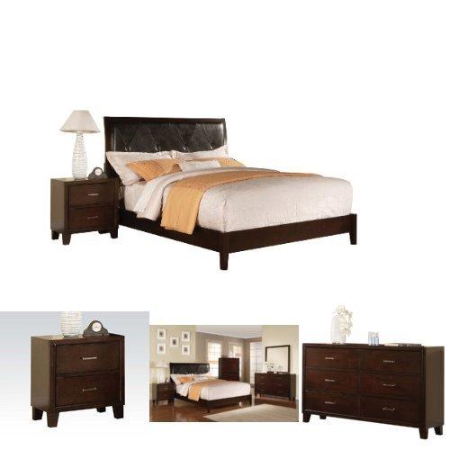 Acme Furniture Tyler California King 4-Piece Bedroom Set, Black PU & - Tyler California