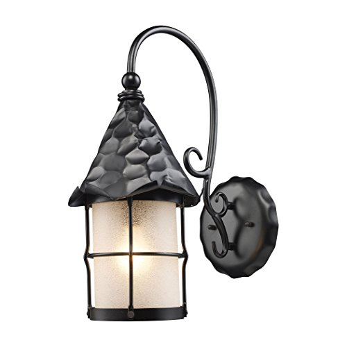 Alumbrada Collection Rustica 1 Light Outdoor Wall Sconce In Matte Black And Scavo Glass