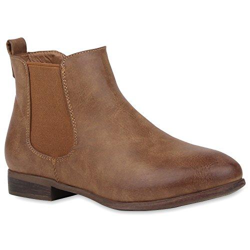 Stiefelparadies Damen Stiefeletten Chelsea Boots mit Blockabsatz Holzoptikabsatz Flandell Khaki